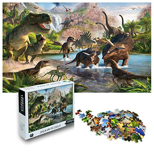 1000 Pieces Wooden Jigsaw Puzzle for Adults and Kids, Jurassic Dinosaur Puzzle Toy, Large Funny Family Entertainment Game, Friend Best Gift for Holiday