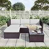 Leisure Zone Polyratten Lounge Gartenmöbel Set 5 Teilig Sitzgruppe für 3-4 Personen mit Kissens für Garten Brown