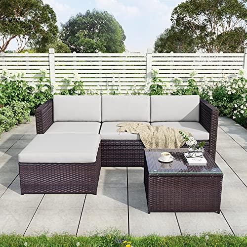 Grupo de asientos de Polyrattan, sofá, juego de sofás, muebles de jardín, sofá de esquina, juego de sofás con cojines de asiento y respaldo