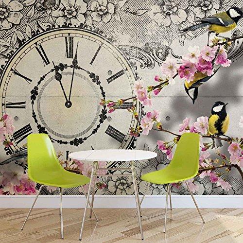 Vögel Blumen Uhr Vintage - Forwall - Fototapete - Tapete - Fotomural - Mural Wandbild - (1793WM) - XXL - 312cm x 219cm - VLIES (EasyInstall) - 3 Pieces