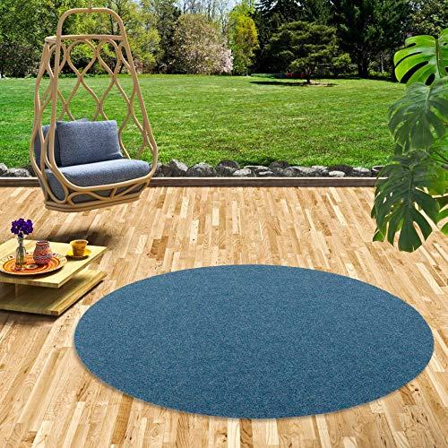 Snapstyle Kunstrasen Rasenteppich mit Noppen Kingston Blau Rund in 5 Größen