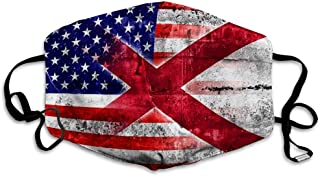 Mouth Mask Face Cover USA and Alabama State Flag Painted On Grunge Wall
