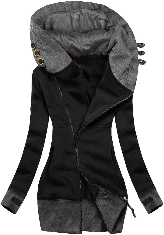 Tavorpt Hoodie for Women Pullover Turtleneck Hooded Long Sleeve Top Zipper Loose Pullover Sweatshirt Tops Blouse