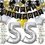 """KUNGYO 55ème Bon Anniversaire Décorations,Bannière de Happy Birthday Noir,Argent """"55"""", Étoile&Ballon à Latex,Tourbillons Suspendus, Fournitures de Fête Parfaites pour 55 Ans"""
