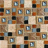 """Simple Tile ガラスとストーンモザイクタイル キッチンバックスプラッシュ 浴室シャワー壁などに """"Mini Teseo Collection"""" 正方形ミックス 12インチ x 12インチ x 5/16インチ サンプル見本 GM 8306 - ピラミッド)"""