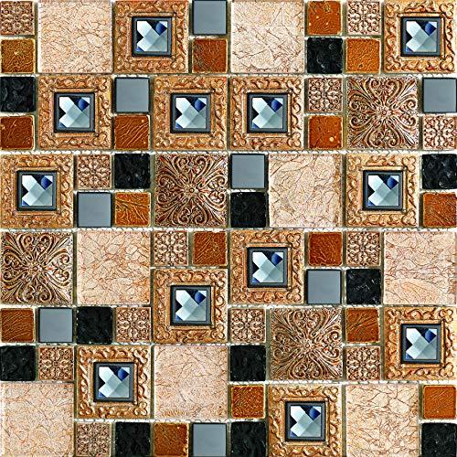 Simple Tile - 5 Sheets Glass and Stone Mosaic Tile for Kitchen Backsplash, Bathroom Shower Wall, Etc,