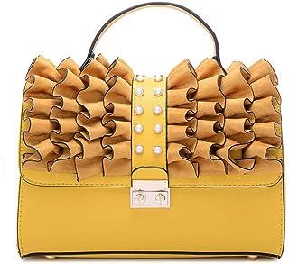 Trendy Ladies Fashion Handbag Retro Shoulder Bag Large Capacity Shoulder Bag Zgywmz (Color : Yellow, Size : 26 * 11 * 17cm)