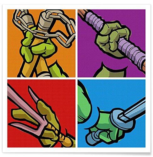 Juniqe Design Lichtenstein Pop Martial Art Combo - Pop Art Affiche 20x20cm in Multicolore - créé par Butcher Billy