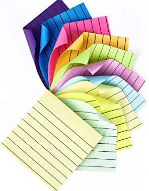 Lined Sticky Notes 3 in x 3 in, Colorful Super Stickies, Strong Self-Stick Notes, 10 Variety Colors Easy to Post for Home, Office, School, 10 Pads/Pack and 100 Sheets/Pad