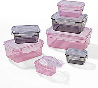 GOURMETmaxx 02914 pojemniki do przechowywania żywności, 14 części, nadają się do kuchenki mikrofalowej, zamrażarki i zmywarki