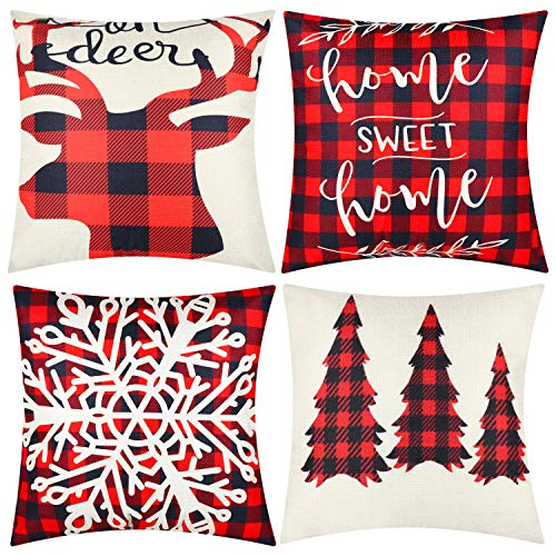 """4pieces Christmas Throw Pillow Covers Christmas Tree Snowflake Snowman Reindeer Pillow Cases Xmas Cushion Covers for Christmas Thank ThanksgivingFestival Home OfficeDecorations18""""x18"""" (Color Set 3)"""