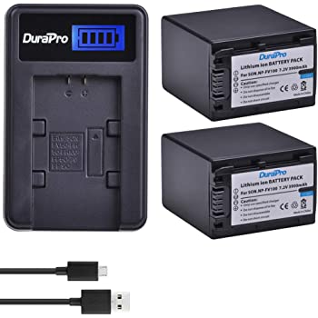 Compatible with Sony NP-FV50 Digital Camera Batteries and Chargers 1050mAh 7.2V Lithium-Ion Replacement for Sony DCR-SX63 Battery and Charger with Car Plug and EU Adapter