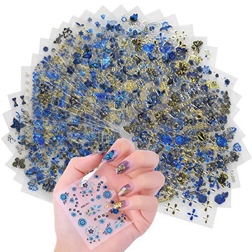 30 Blätter Nagel Aufkleber, Nagelsticker Selbstklebend, 3D Design Fingernagel Sticker Glitzer, Nageldekorationen Abziehbilder Blumen Schmetterling für Nägel Maniküre DIY Nail Art