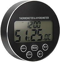 HERCHR Temporizador de Cocina Termómetro Digital para Interiores con medidor de Humedad Soporte Trasero magnético Batería no incluida