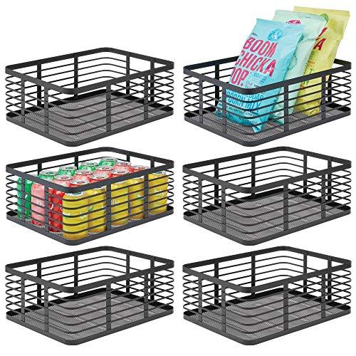 mDesign Modern Decor Metal Wire Food Organizer Storage Bin Baskets for Kitchen Cabinets, Pantry, Bathroom, Laundry Room, Closets, Garage - 6 Pack - Black
