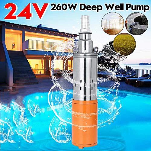 DC24V solar Bomba de agua, 260W 1200L / H 35M profundo de bombas para pozos, riego bomba de la CC tornillo sumergible jardín Hogar Agrícola