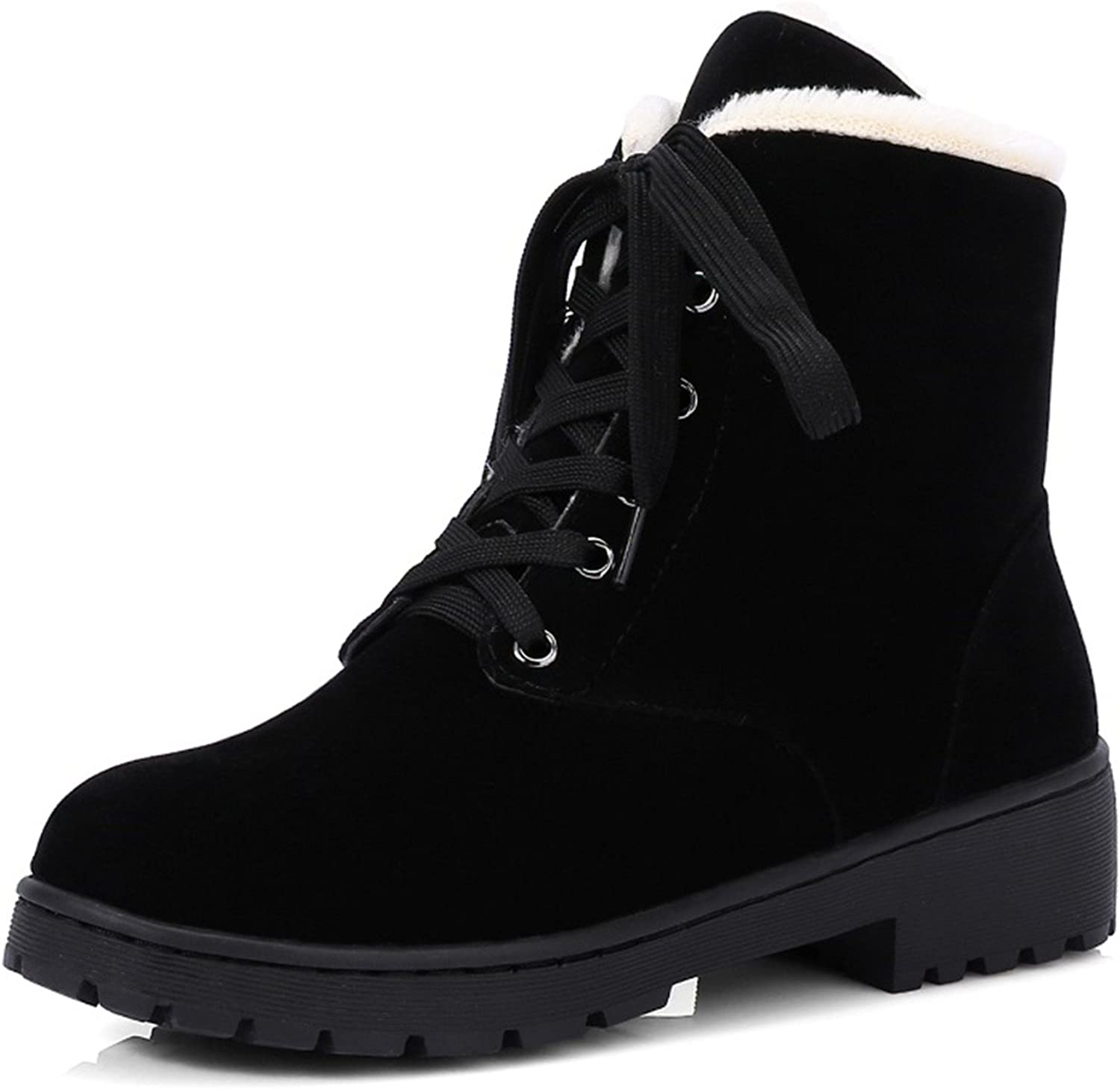 Thytas Solid Anti-Slip Snow Boots Plush Fur Inside Causal Mid Calf Lace Up shoes Women Winter Boots Warm