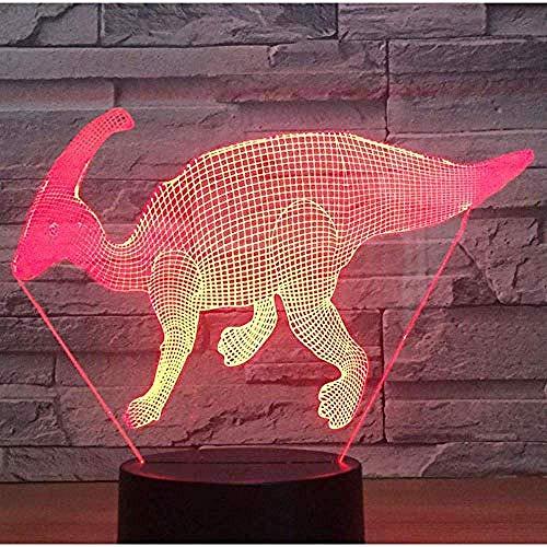 De 3D-dino met nachtlampje wordt geleverd met een lichtbron voor de thuisdecoratie in 7 kleuren, verbazingwekkende visuele effecten.