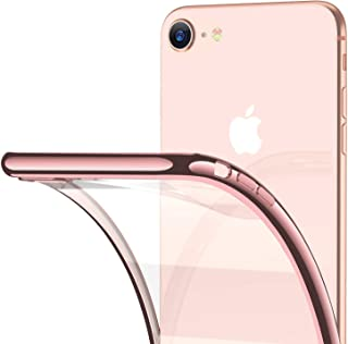 RANVOO iPhone 8 Case, iPhone 7 Case, Clear Soft Slim Thin Case with Premium Flexible Chrome Bumper and Transparent TPU Back Plate Crystal Cover for Apple iPhone 8 / iPhone 7 (Rose Glod)