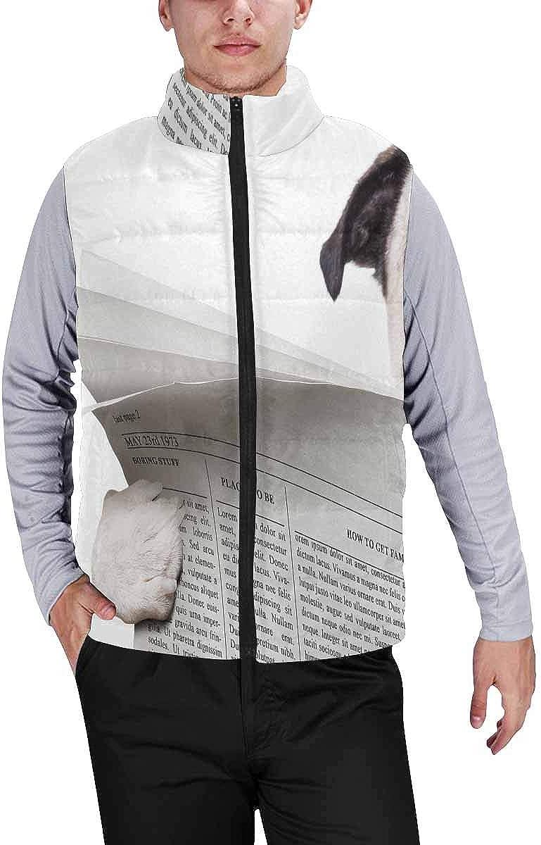 InterestPrint Men's Winter Warm Outdoor Padded Puffer Vest Postcard Advertising Holiday