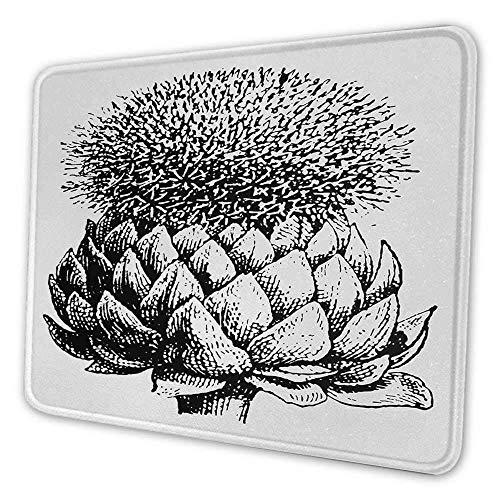 Artischocken-kundenspezifisches Mauspad Vintage Illustration einer blühenden mehrjährigen Pflanze Frisches Wachstum Artwork Fleckensicheres Mauspad Schwarzweiss
