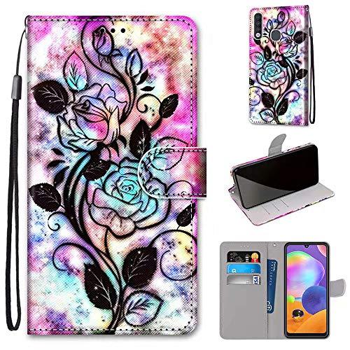 Miagon Flip PU Leder Schutzhülle für Samsung Galaxy A70e,Bunt Muster Hülle Brieftasche Case Cover Ständer mit Kartenfächer Trageschlaufe,Blume Blatt