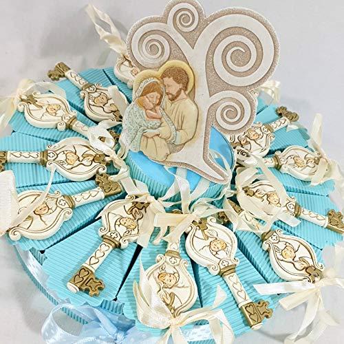 Torta con chiavi appendino per battesimo, centrale albero della vita sacra famiglia Dolcicose (Torta da 20 fette, Maschietto)