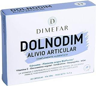 DIMEFAR - Dolnodim - Dolor + Inflamación Articular - Cúrcuma + Glucosamina Vegetal + Condroitina + Harpagofito + MSM + Vitamina C + Pimienta Negra (BioPerine®). 20 Cápsulas | Anti-inflamatorio