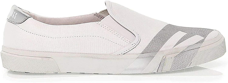 Bikkembergs Women's BKW101450 White Fabric Sneakers