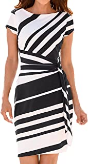 Willow S Women's Working Dresses Pencil Stripe Print Short Sleeve Round Sleeve Party Dress Casual Mini Dresses