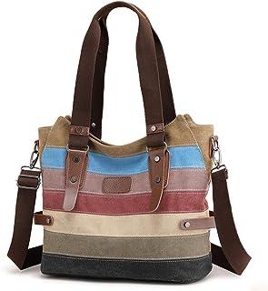 Travistar Damen Handtaschen Multi-Color-Striped Canvas Damen Hobos Schultertasche Shopper Tasche