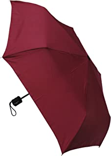 1.5 Inch ULTRA FLAT STRONG COLLAR AND CUFFS LONDON Auto Open /& Close Windproof Small Compact Folding Umbrella Burgundy Red