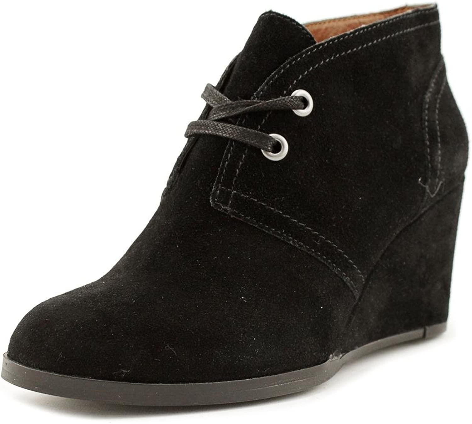 Lucky Brand Seleste Women Round Toe Suede Black Ankle Boot, Black, Size 7.0