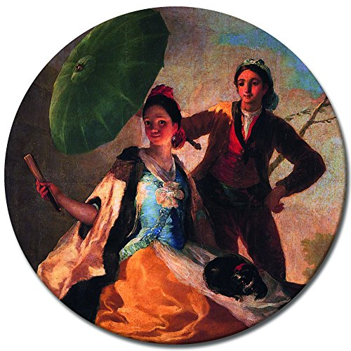 Bilderdepot24 Wandbild Francisco de Goya Der Sonnenschirm - 40 cm rund - rundes Leinwandbild Alte Meister Berühmte Gemälde Kunstdruck