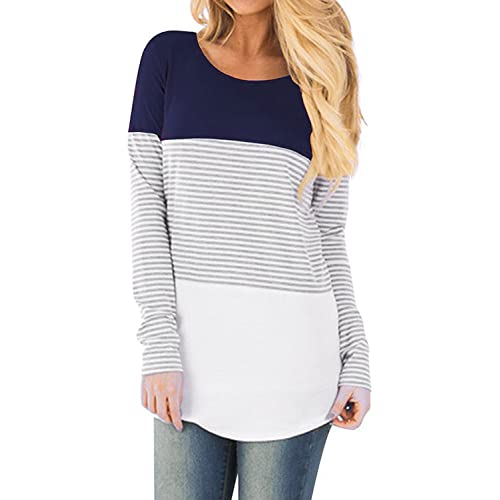 d57d4d9edd7b8 Hount Womans Round Neck Long Sleeve Shirts Color Block Loose Striped Tunic  Tops