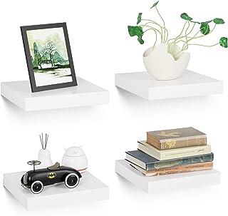 Homfa 4 Estanterías de Pared Estanterías florantes Estantes Colgantes para baño Cocina y Dormitorio Blanco 25x25x3.8cm