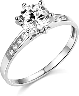 Solid Real Natural Aquamarine Oval Diamond Ring  14K White Gold 0.49CT Handmade Decent Elegant Ocean Blue Colored March Ring For Women Love