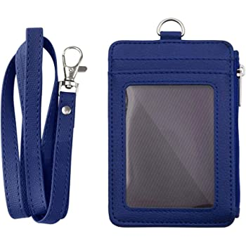 Porta badge in pelle PU con cordino retrattile da collo Misura unica Blue Gogo
