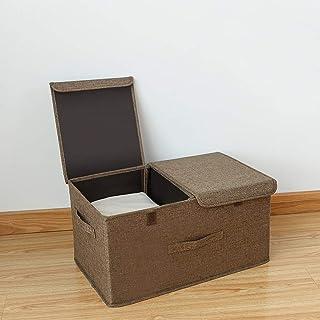 JZLRHOHO Boîtes de rangement avec couvercles Boite de rangement cubique avec poignées, boîte de rangement pliable en tissu...