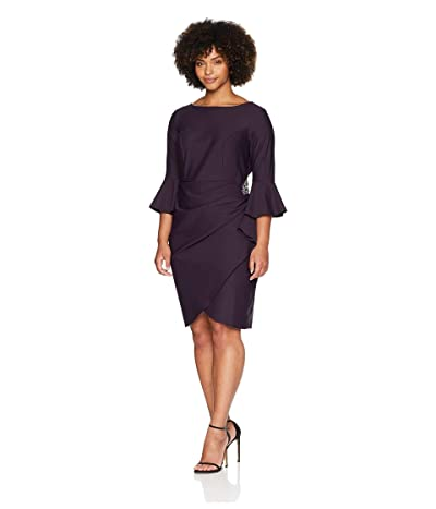 Alex Evenings Plus-size Short Slimming Sheath Dress With Bell Sleeves
