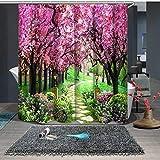 NO LOGO CCH VORHANGS 3D Pfirsichblüte Wald Süße Lilien Duschvorhänge Bad Vorhang wasserdicht verdickt Bad Vorhang anpassbar (Color : Color A, Size : W150 x H180cm)