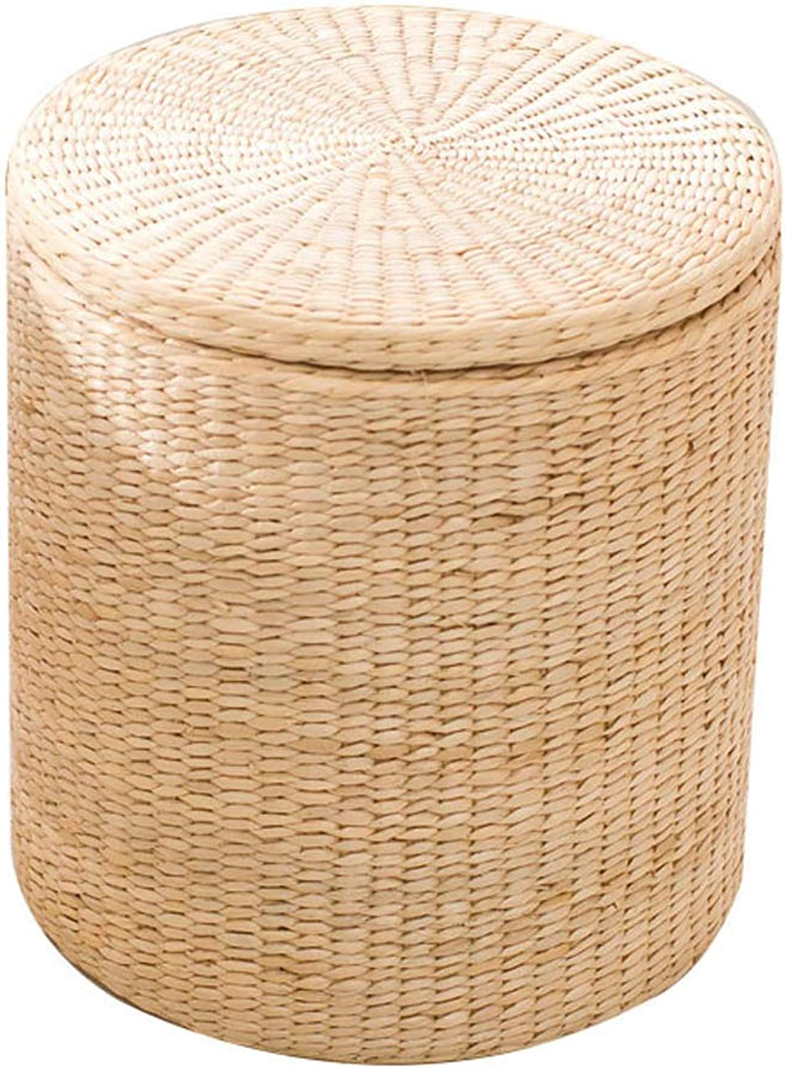 Round Storage Stool Creative Rattan Stool, Home Straw Dining Stool Solid Wood Dressing Stool, Suitable for Living Room, Bedroom, Entrance