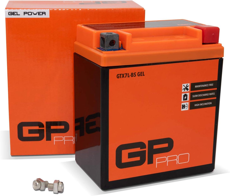 GP-PRO GTX7L-BS 12V 6Ah GEL Batería de arranque (compatible con YTX7L-BS / 50614) (Sin necesidad de mantenimiento/Sellado) Scooters y Motos Acumulador