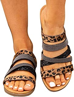 Women's Leopard Sequin Slippers, Breathable Round Toe Non-Slip Shoes/Crisscross Light Slippers Comfortable Bathing Shoes Sandals,A,41