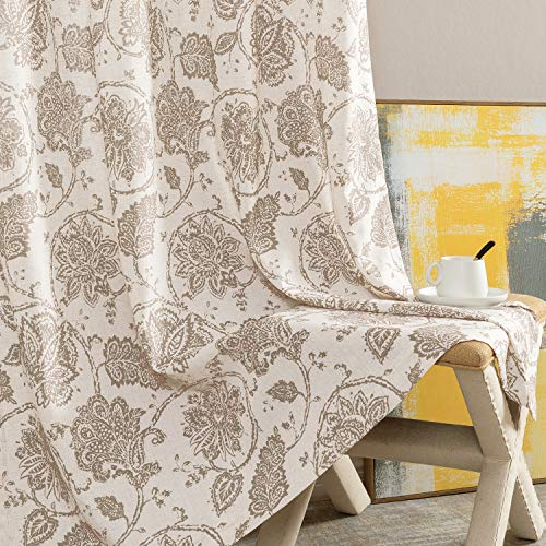"""Paisley Scroll Printed Linen Curtains, Grommet Top - Medallion Design Burlap Vintage Jacobean Floral Printed Curtains Living Room Window Panels (Taupe, 50"""" x 95"""", One Pair)"""