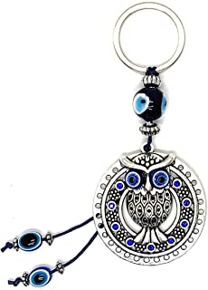 Bravo Team Lucky Owl Circle and Evil Eye Good Luck Keychain Ring, Handbag Charm for Good Luck and Blessing, Great Gift
