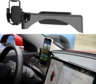 Topfit Car Cellphone Mount for Tesla Model 3 Model Y Monitor Fixed Clip Safety Cell Phone Holder Stand (Silence) Upgrade Silicone (All Screen Phone Holder)