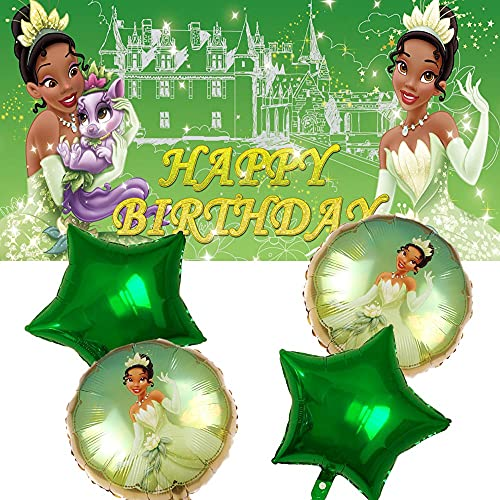 Tiana Party Supplies | Princess and The Frog | Decorations | Birthday | Banner | Balloons | For Girl | Backdrop | Decor
