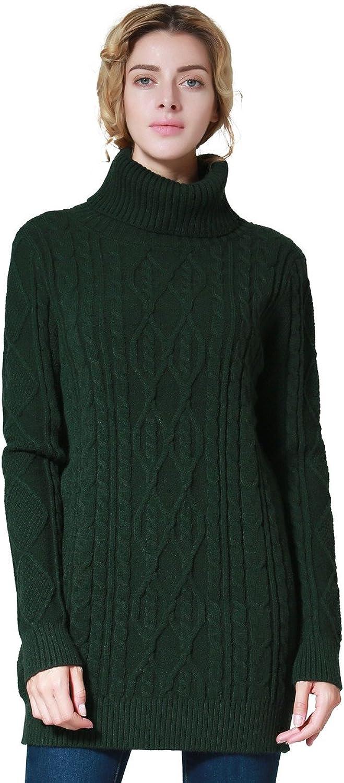 Ninovino Women's Turtleneck Sweater Cable Knit Tunic Sweater