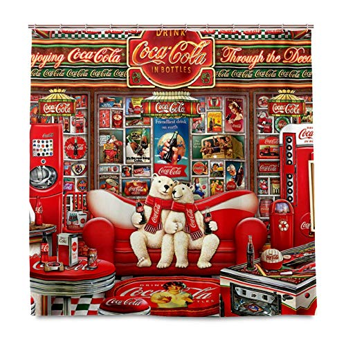 J.COXLOD Funny Bear Shower Curtain with Hooks, Coke Decorative Bathroom Curtain, 60x 72 Inch Waterproof Polyester Fabric Curtains for Bath